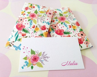Personalized Floral Gift Enclosure Card, Gift Tag, Set of 10