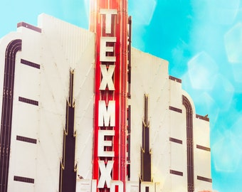 Neon Sign Photo, Fine Art Photograph Theatre Decor, Red and Turquoise, Texas Art, Modern Wall Decor, Houston, Street Photography, Art Deco