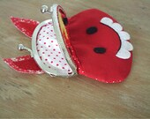 novelty horse clasp purse,childrens purse,kiss clasp,red spot coin wallet,pony,red fabric purse,quirky,unusual purse,HANDMADE BY FRALINE
