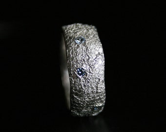 sterling silver lace ring set with brilliant cut blue spinel - READY to SHIP in size 8 1/2, OOAK