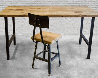 Office desk with reclaimed wood top and steel legs in choice of sizes or finishes