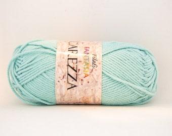Filati Fantasia Carezza 100% Cotton Yarn - Color #10 - Teal/Mint