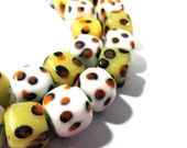 Lampwork Beads GLASS Animal Print Spotted Cube Beads Strand 38 Beads 10mm Handmade Glass Beads Vintage Jewelry Beading Supplies (S62)