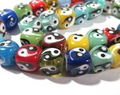 Lampwork Beads GLASS Yin Yang Cube Beads Strand 38 Beads 10mm Assorted Colors Handmade Glass Beads Vintage Jewelry Supplies Beading (L95)