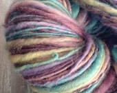 Hand Dyed, Hand Spun Blue Faced Top Witches Dawn 4oz, 156 yards Thick and Thin Art Yarn Luxury Bulky