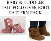 Baby And Toddler Tall Fold Over Boot Crochet Pattern Pack- PDF