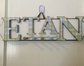 Boys Custom Hand Painted Car Name Sign with Pegs - Boys  Name Sign Coat Rack - Boys Vintage Style Name sign