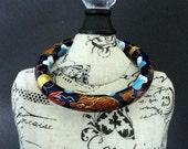 Vintage Blue Enamel Cloisonne Brass Hinged Dragon Bangle Bracelet