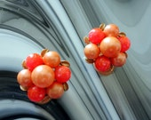 Vintage Pakula Pearl Flower Cluster Clip Earrings, Peach, Orange