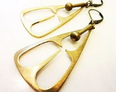 Mod Pendulum Earrings, Cast Bronze, Solid Brass Dangle, Geometric Triangle, Cut Out Pendant, Vintage Style