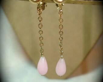 Avon Vintage Pink Tear Drop Rhinestone Dangle Earrings.