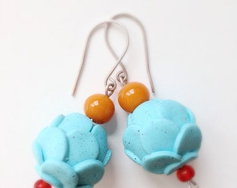 Pastel Blue 'CHOUX' Polymer Clay & Silver Earrings