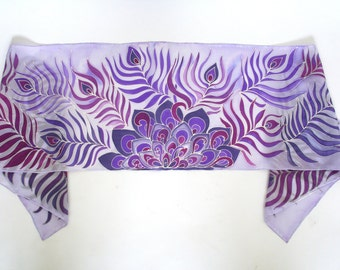 Peacock Feathers Scarf . Hand Painted Silk Scarf . Statement Scarf