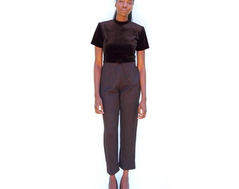 Black shortsleeve pantsuit with velvet crewneck top andand wide leg 1990s 90s VINTAGE