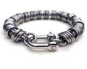 Mens Silver Bracelet, Stainless Steel Mens Bracelet, Coil Chain, Unique Mens Jewelry, Gift For Him, Metal Work, Mens Bracelet