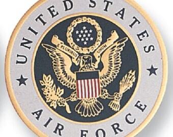 "US Air Force Medallion - 2"" dia. Aluminium Disc, Embossed Litho Printed, Peel and Stick Sure Bond Adhesive Back"