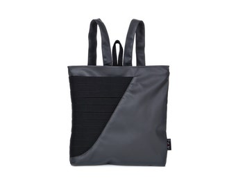 grey and black vegan backpack, medium size faux leather bag, Geometric design purse  Gabby