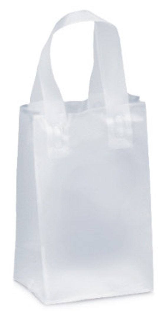 Clear frosted shopper merchandise bags set of