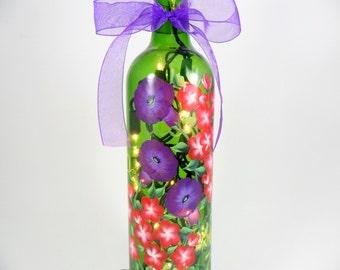 Lighted Wine Bottle Purple Morning Glories Red Geranium Hand Painted