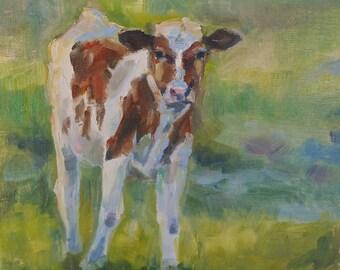 Guernsey Calf, cow painting, calf painting, Bovine art, cow in field, Original oil by Carol DeMumbrum