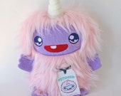 Yeti Unicorn Pastel Pink Monster Plush Handmade Doll