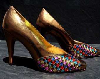 Vintage 70's ADIGE Paris disco shoes pumps s8 leather cooper with color metallic leather strips weave by thekaliman