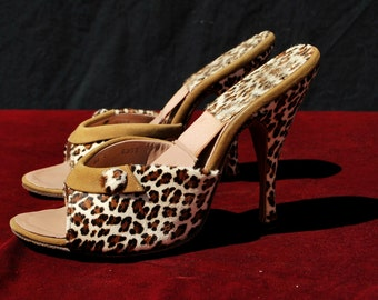 Vintage 50's leopard spring-o-lators shoes mules Old hollywood size 5 1/2 Yma Sumac owned by thekaliman
