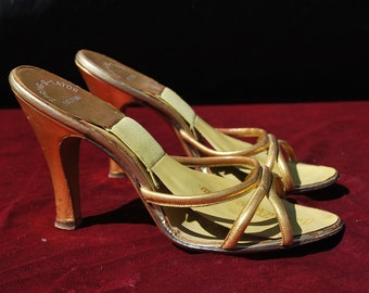 Vintage 50's gold spring-o-lators shoes mules Old hollywood size 5 1/2 Yma Sumac owned by thekaliman