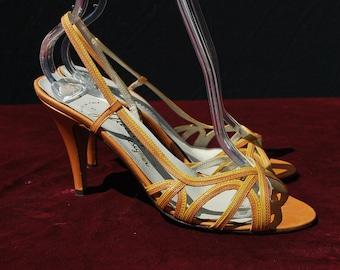 SEXY Vintage 70's slingback shoes GAROLINI basket weave heels size 8 italian by thekaliman