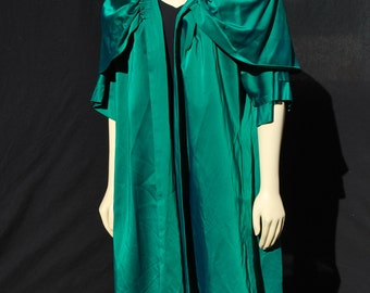 Vintage 50's LILLI DIAMOND green satin coat cape lady coat glam old hollywood party MInt sM by thekaliman