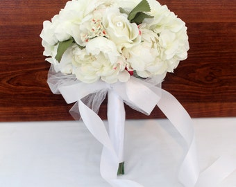 Bridal Wedding Bouquet - White Peony, White Rose, Hydrangea Brides Wedding Bouquet, All White Wedding, White/Cream Wedding Bouquet