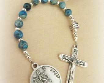 Catholic Baby Boy's Baptism Blue Gemstone Personalized Chaplet