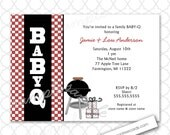 Baby Q BBQ Baby Shower Invitation, printing available, neutral gender family baby shower invites