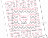 Sanitize before you Snuggle Favor Tags, pink gray chevron, girl baby shower, instant download, thank you favor idea