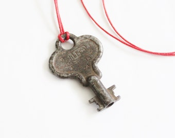 Vintage MILLER Made in USA Mini Skeleton Key Upcycled Necklace on Waxed Red Cord