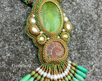 """Chinese Turquoise and Ammonite Necklace """"In The Green Sea"""""""