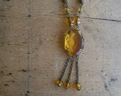 Antique Art Deco Czech amber glass tassel necklace