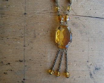 Antique Art Deco Czech amber glass tassel necklace