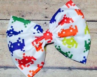 SALE Space Invaders Fabric Bow 5.5 Inches