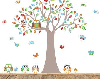 Vinyl Wall Decal Stickers Owl Tree Set Nursery Baby Pattern Leaf Tree Vinyl Wall Art