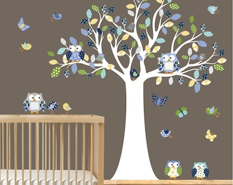 Nursery Wall Decal Tree with Monogram Decal Birds Owls