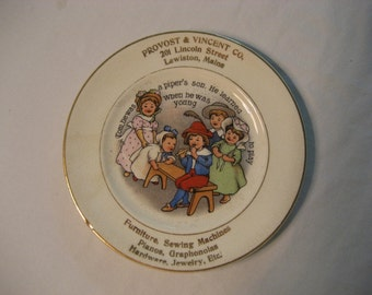 colorful antique child's plate advertising Provost & Vincent Co., Lewiston, Maine