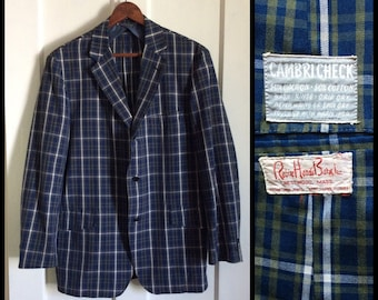 Men's Vintage 1960's Blue Plaid Sport Jacket Blazer size 40 Blue Green