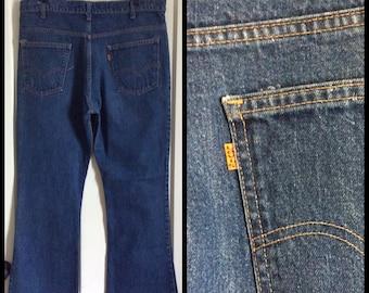 Vintage Levi's 646 38X31 Dark Blue Denim Bell Bottom Flare Jeans