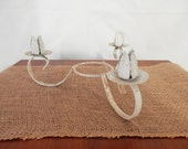 White 3 arm metal Candlestick Holder leaves rusty shabby chic Centerpiece