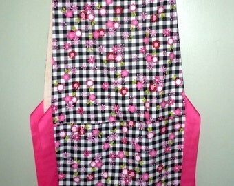 Red white and pink Floral Apron with Ribbon Ties