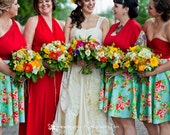 Mismatched Bridesmaids~ Frida Aqua Floral Bridesmaids ~ Octopus Infinity Wrap Dress with Sunset Beach Red Straps