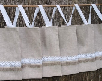 Rustic gift bags Set of 6 Medium Linen Totes  Gift Bags with white lace Tote bags  Wedding Gift bags Rustic gift bags