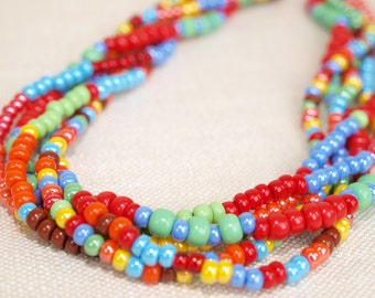 Rainbow Necklace Colorful Necklace Round Beads Necklace Beads Colorful  Glass Beads Necklace  Rainbow Necklace Multicolor Necklace