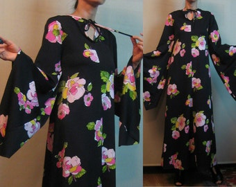 60s MASSIVE BELL SLEEVE Designer Leo Chevalier vtg Angel Tie Neck Black Floral Leaf Pink Chartreuse Maxi Dress xs Small s/m 1960s 1970s